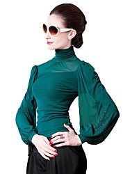 Women's Casual/Daily Simple Spring / Fall / Winter Blouse,Solid Turtleneck Long Sleeve Blue / Pink / Red / Black / Green / Purple Nylon