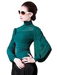 Women's Solid Blue/Pink/Red/Black/Green/Purple T-shirt , Turtleneck Long Sleeve