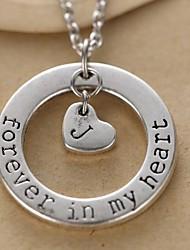 cercle de la mode et l'alphabet coeur pendentif en argent en alliage Collier unisexe (1 pc)