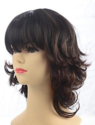 Fashionable Medium Length Brown Curly Wigs with Full Bang