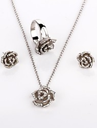 Women's Silver Alloy Daily Jewelry Set With Necklace Earring Rings