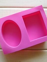 2 trous de moules gâteau de forme carrée de l'ellipse de chocolat, de silicone 18 × 12,2 × 3,8 cm (7,1 × 4,8 × 1,5 pouces)