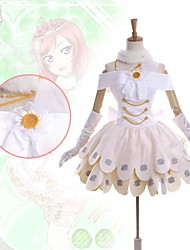 Inspired by Love Live Maki Nishikino Anime Cosplay Costumes Dresses Patchwork White Sleeveless Dress / Collar / Gloves / Leg Warmers