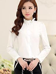 Mulheres Blusa / Camisa Plus Sizes Primavera / Verão / Outono / Inverno,Sólido Azul / Branco / Preto Gola Frufru Manga Longa Fina