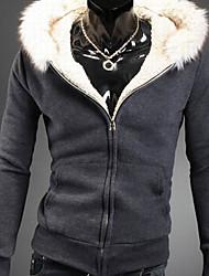 ocasional gola de pele hoodie dos homens Ruxi