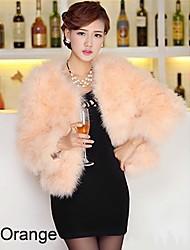 Manga larga sin cuello de piel de avestruz Partido / chaqueta informal (más colores)
