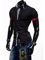 Men's Striped / Plaids Casual Shirt,Cotton Short Sleeve Black / Blue