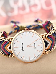 Women's Golden Case Chain Fabric Band Quartz Analog Bracelet Watch