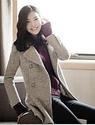 Women's Elegant Turn Down Collar Slim Wool Coat