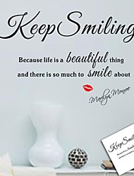 Wall Stickers Wall Decals, Keep Smiling English Words & Quotes PVC Wall Stickers