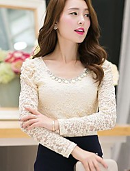Women's Lace Pink/White/Black/Beige Shirt , U Neck Long Sleeve