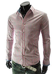 Men 's Fashion Grid Long Sleeve Shirt