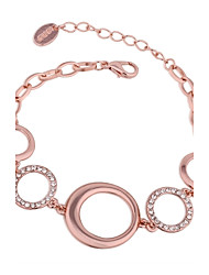 Simple Women's Circles White  Rhinestones Rose Gold Plated Tin Alloy Chain & Link Bracelet(Rose Gold)(1Pc)