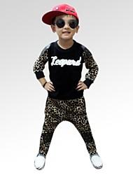 Mode Leopard pur coton grain correspondance des couleurs automnales vêtements ensembles de garçon