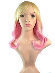 22 polegadas mulheres longo dos desenhos animados mixcolor perucas sintéticas onduladas lado estrondo