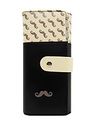 Women's Moustache Beard Zipper PU Leather Long Wallet