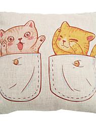 """createforlife® 18 """"coussin décoratif carré rétro à double chat de tasse de linge de coton"""