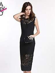 Women's Vintage / Work Dress Midi Polyester / Lace