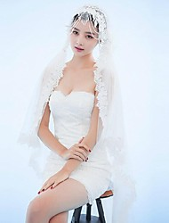 Ivory One Tire Chapel Bridal Veils with Lace Trim with Crystal Tassels