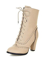Women's Shoes Round Toe Chunky Heel Ankle Boots wiht Lace-up  More Colors available