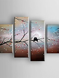 Oil Painting  Abstract Landscape Bird in the Tree Set of  4  Hand Painted Canvas with Stretched Framed