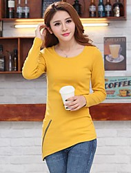 Women's Solid Black/Yellow T-shirt , Round Neck Long Sleeve