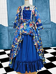 Long Sleeve Floor-length Blue Cotton Gothic Lolita Dress