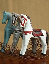 "Retro Vintage 9"" Nordic Style Wooden Rocking Horse Home Decoration Ornament"