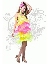 Latin Dance Women's Fashion Colorful Tassel Performance Dress