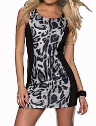 Women's Leopard/Patchwork Brown/Gray Dress , Sexy/Bodycon/Party Round Neck Sleeveless