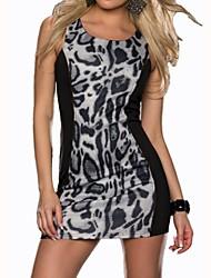 vestido midi leopardo cuello redondo de las mujeres