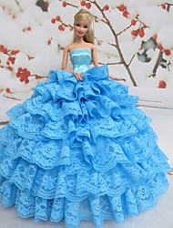 Barbie Doll Fantasy Princess Lake Blue Lace Dress