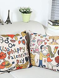 ensemble de deux heureux de coton jour de valentine / lin imprimé taie d'oreiller décoratif