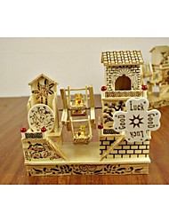 Wooden Villa Windmill Design Music Boxes
