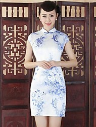 Women's Formal Vintage Sheath Dress,Print Stand Above Knee Short Sleeve Blue Silk Summer
