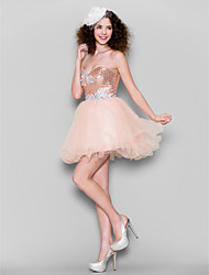 TS Couture Cocktail Party Prom Dress - Sparkle & Shine Ball Gown Sweetheart Short / Mini Tulle Sequined withAppliques Beading Crystal