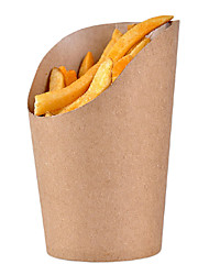 Kraft Paper Bevel Connection French Fries Cup,100Pcs/bag