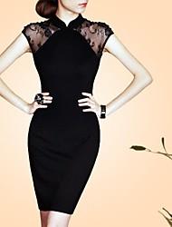 Women's Black Dress , Vintage Short Sleeve