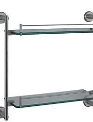 doubles étagères en verre nickel contemporaine sus304 paroi en acier inoxydable monté accessoire de salle