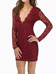 Women's Sexy Lace Bodycon Dress , Deep V Mini Polyester / Lace