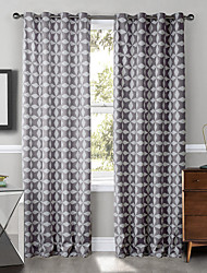 (Two Panels) Reduplicative Gray Stars Pattern Curtain