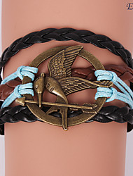 eruner®leather браслеты многослойная сплав Mockingjay прелести браслет ручной работы