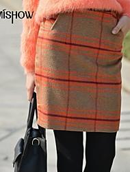 mishow®women vintage checker Druck desige über der Hüfte dünnen Röcke