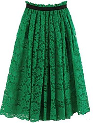 Women's Casual Midi Skirts , Lace Stretchy