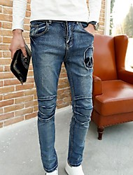 patch de moda jeans crânio homens Masculino