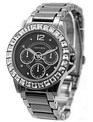 signore della donna tondo in ceramica acqua cinturino nero quarzo resistente orologio fw830o