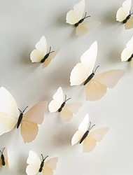 Wall Stickers Wall Decals, 12Pcs/Lot 3D PVC Magnetic white Butterfly Sticker Home Stickers DIY Wall Stickers.