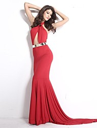 Women's Solid Red Dress , Sexy/Bodycon Halter Sleeveless