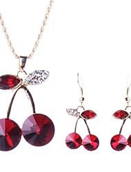 l'insieme dei monili della ciliegia cristallo di modo delle donne (tra cui collane orecchini)