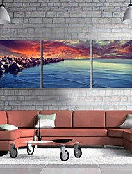 E-HOME® Stretched Canvas Art The Sea Beach Decoration Painting Set of 3